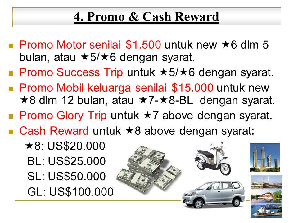 4. Promo & Cash Reward Promo Motor senilai $1.500 untuk new 6 dlm 5 bulan, atau 5/6 dengan syarat.