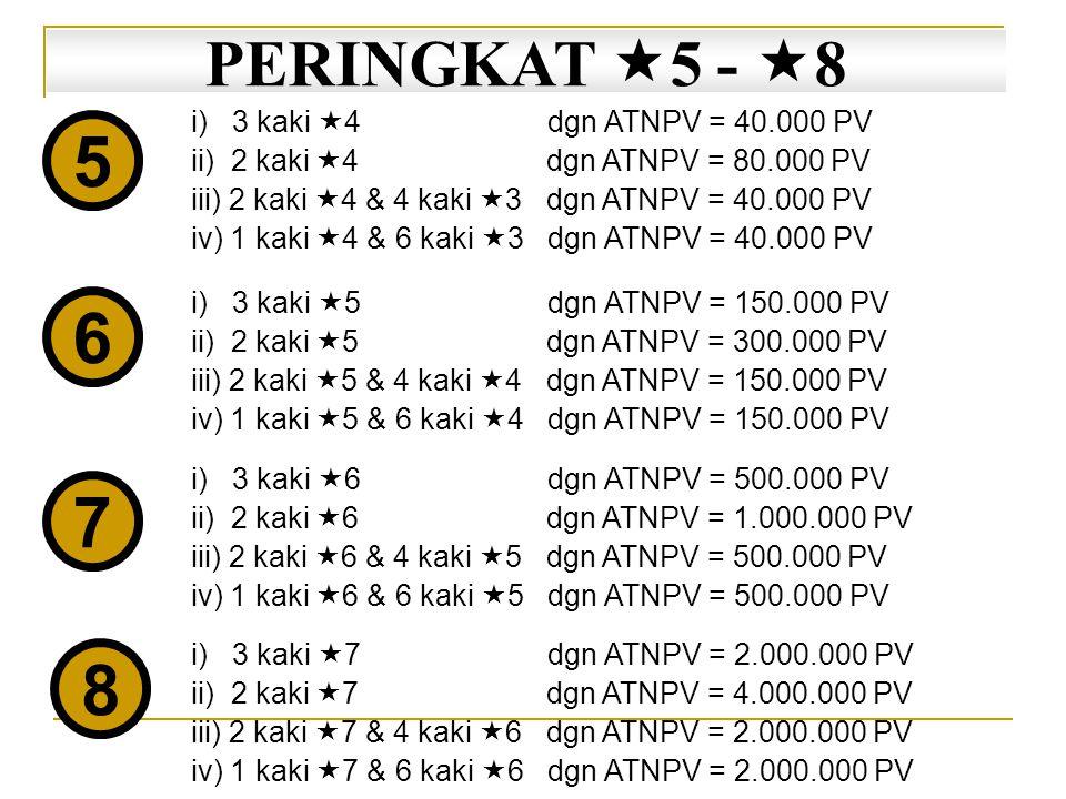 5 6 7 8 PERINGKAT 5 - 8 i) 3 kaki 4 dgn ATNPV = 40.000 PV