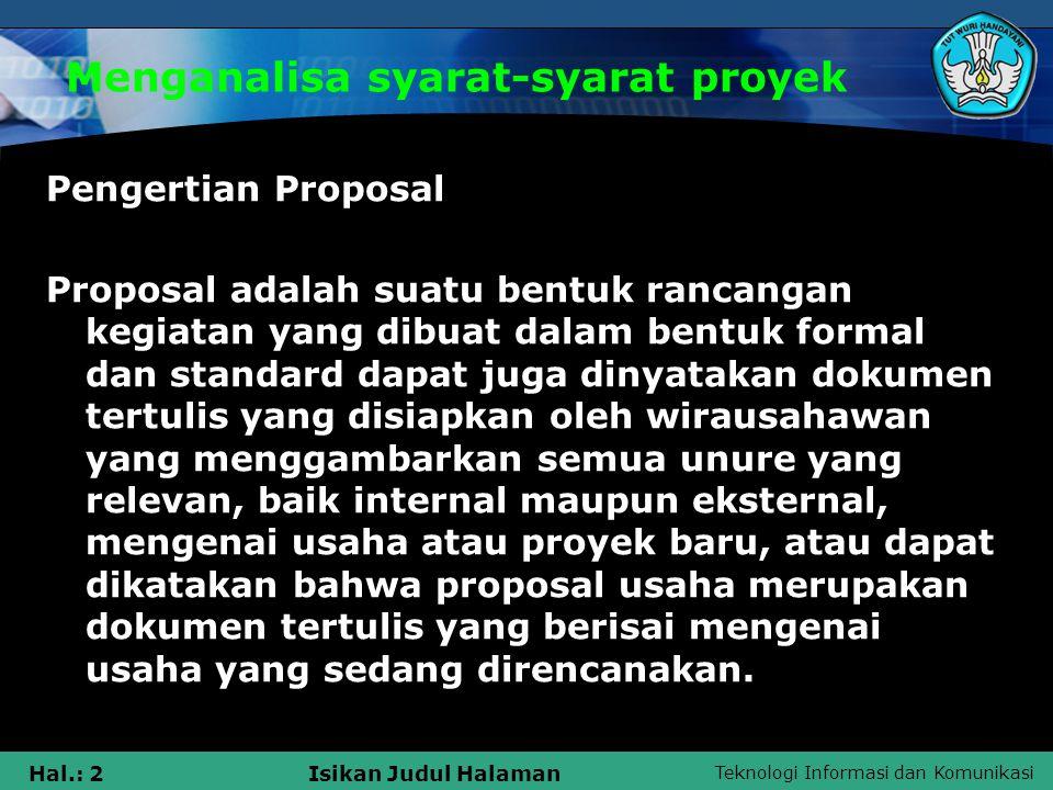 Menganalisa syarat-syarat proyek