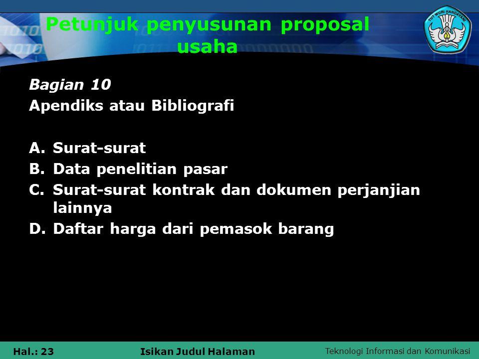 Petunjuk penyusunan proposal usaha