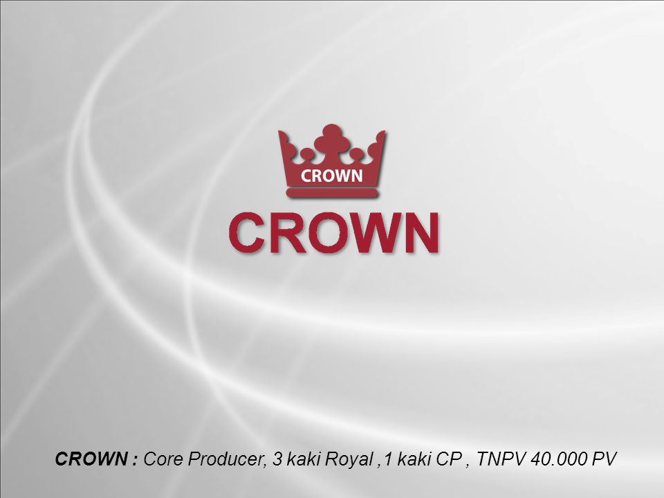CROWN : Core Producer, 3 kaki Royal ,1 kaki CP , TNPV 40.000 PV