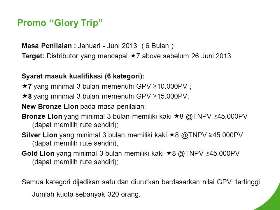 Promo Glory Trip Masa Penilaian : Januari - Juni 2013 ( 6 Bulan )