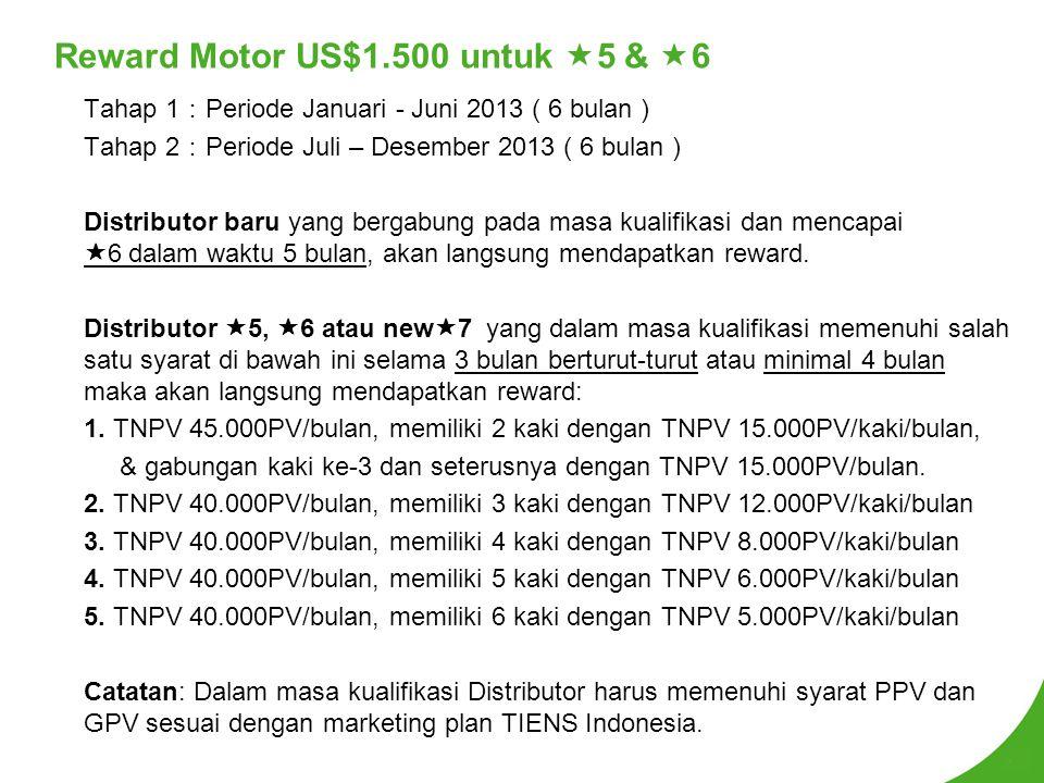 Reward Motor US$1.500 untuk 5 & 6
