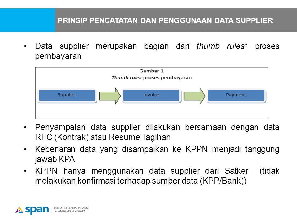 Data supplier merupakan bagian dari thumb rules* proses pembayaran