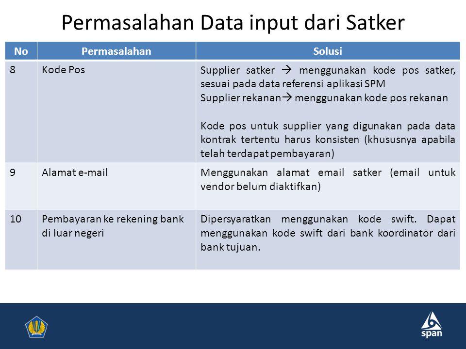 Permasalahan Data input dari Satker