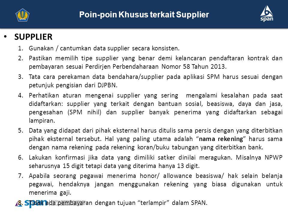 Poin-poin Khusus terkait Supplier dan Kontrak