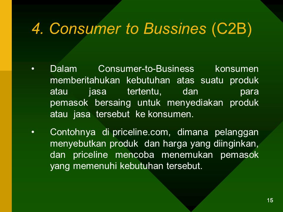 4. Consumer to Bussines (C2B)