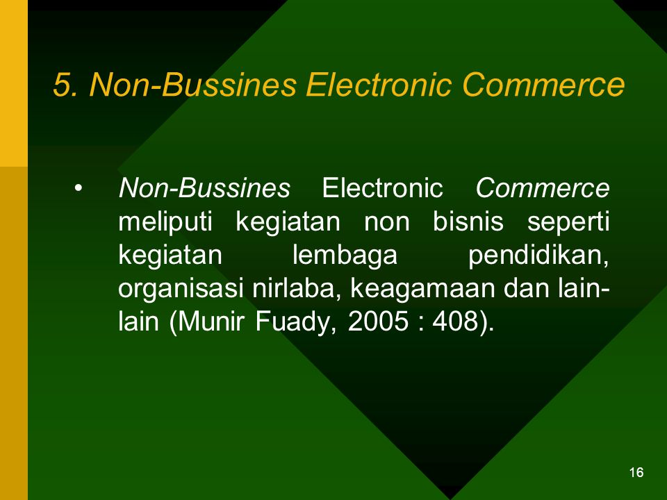 5. Non-Bussines Electronic Commerce