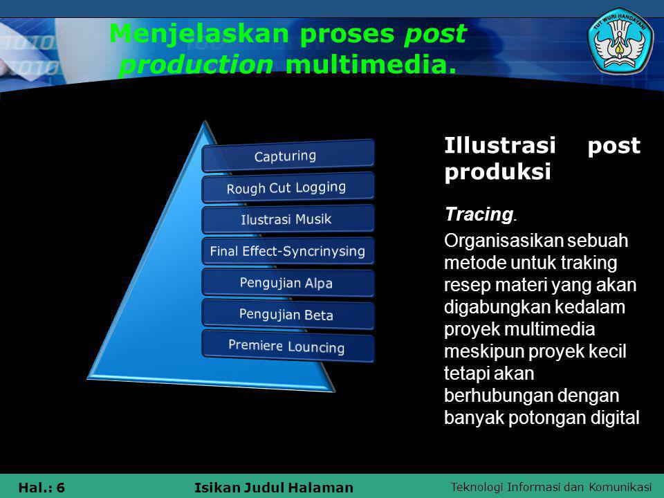 Menjelaskan proses post production multimedia.