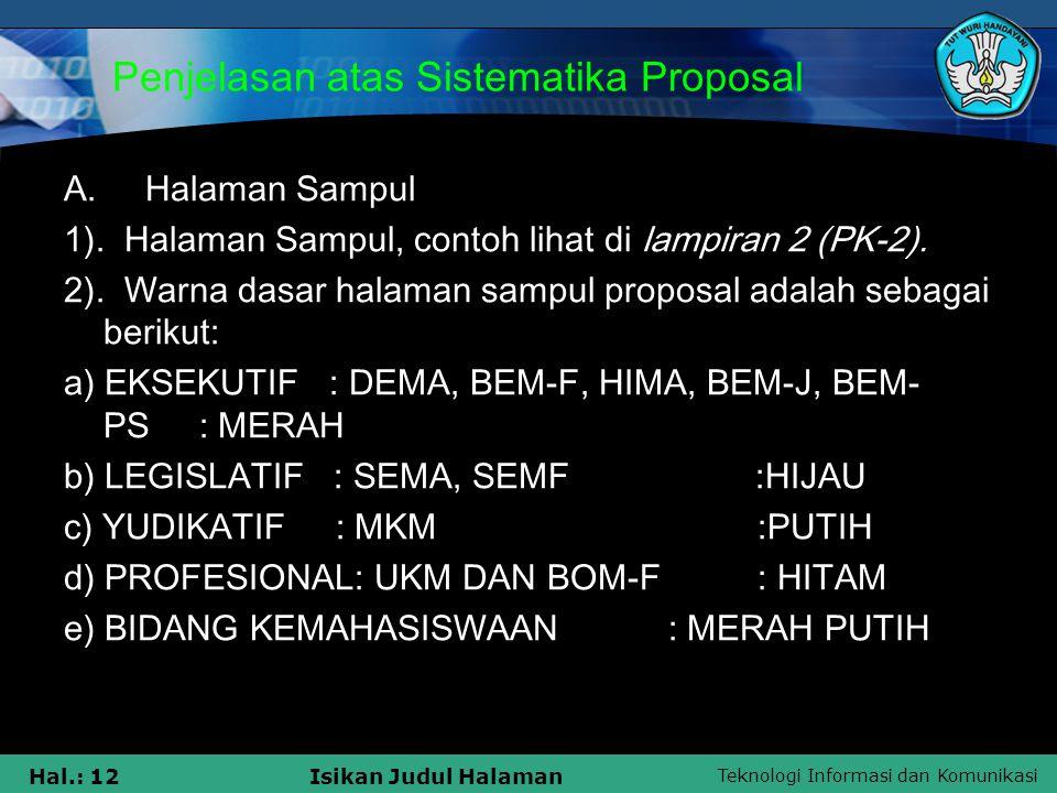 Penjelasan atas Sistematika Proposal