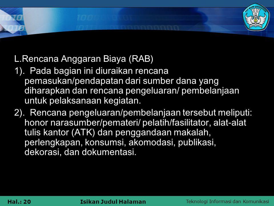L.Rencana Anggaran Biaya (RAB)