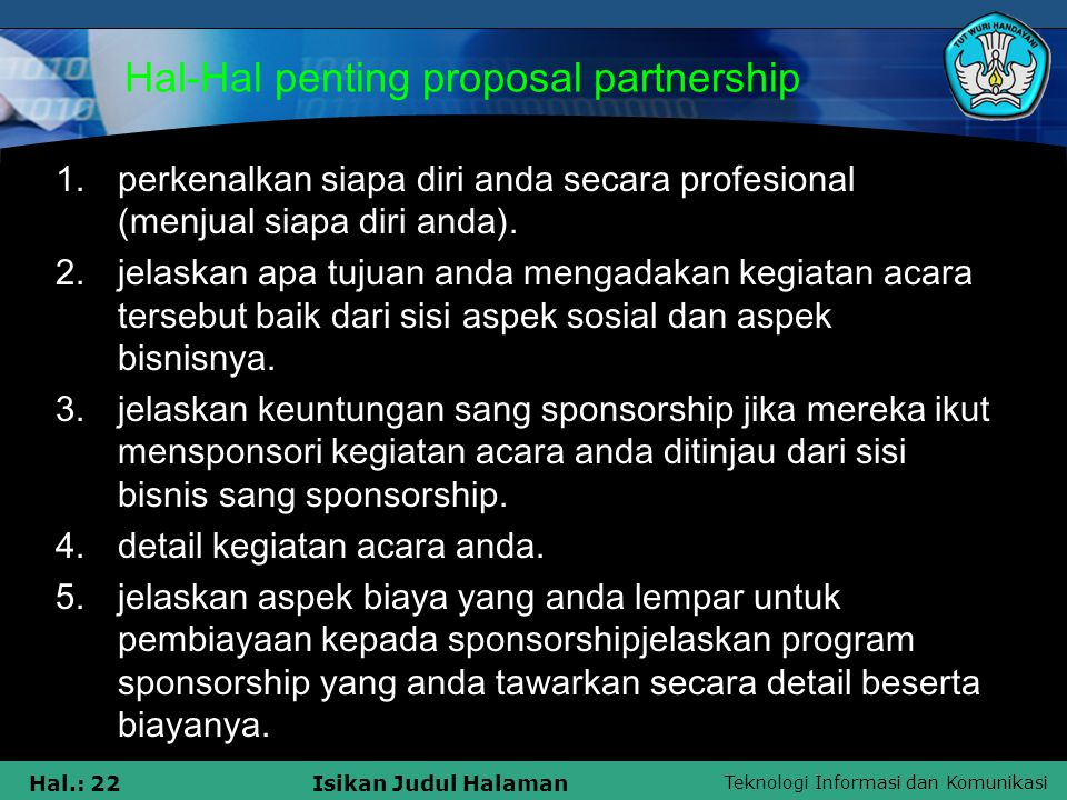 Hal-Hal penting proposal partnership