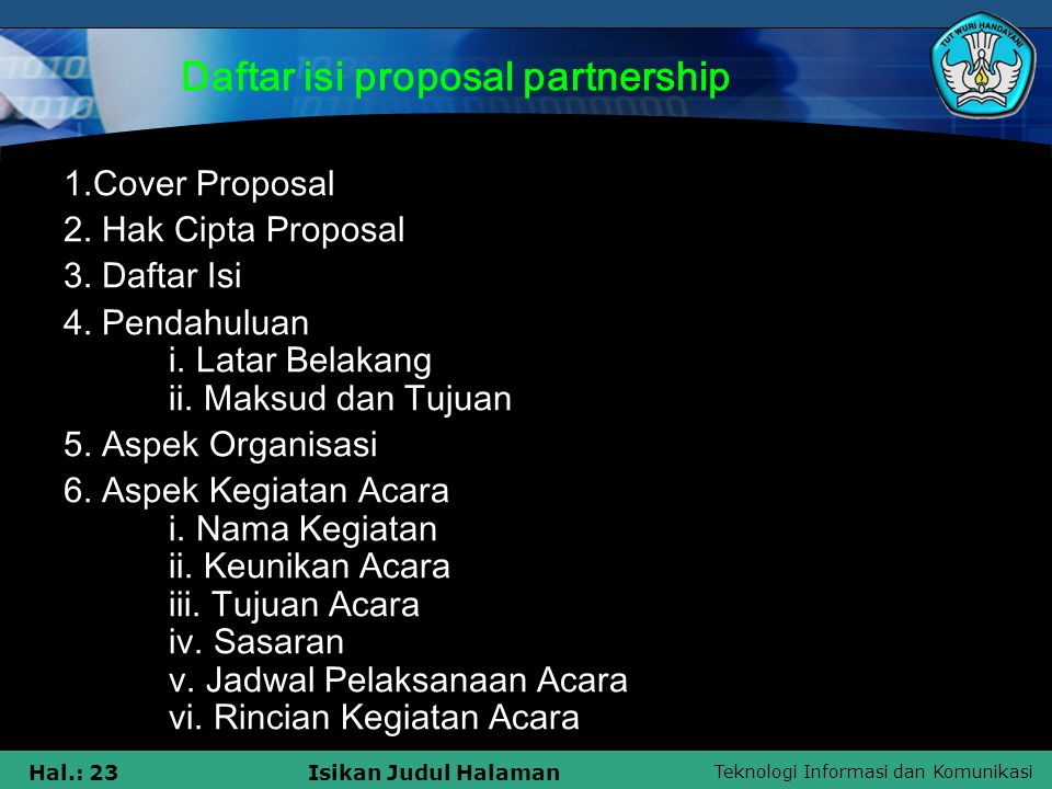 Daftar isi proposal partnership