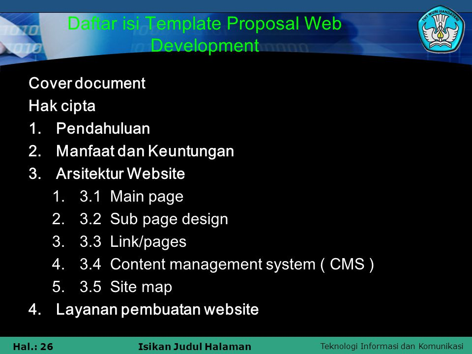 Daftar isi Template Proposal Web Development