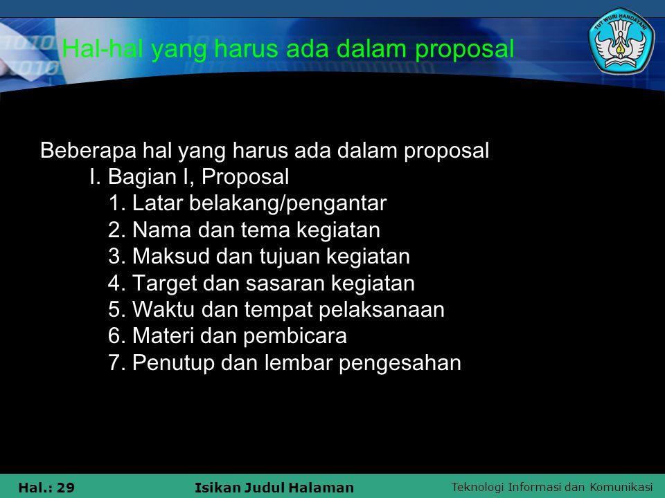Hal-hal yang harus ada dalam proposal