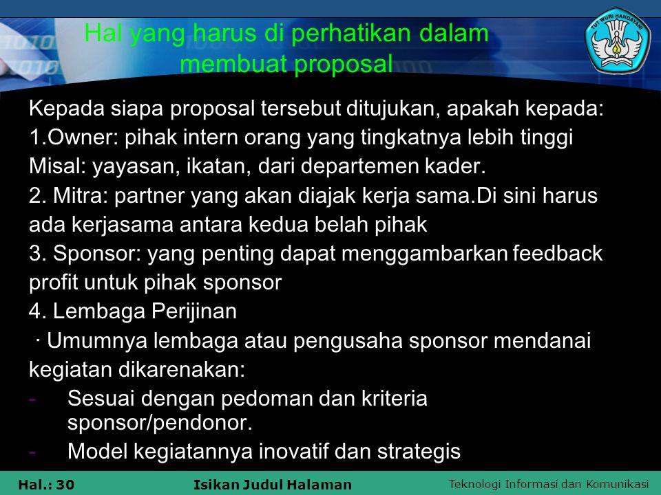 Hal yang harus di perhatikan dalam membuat proposal