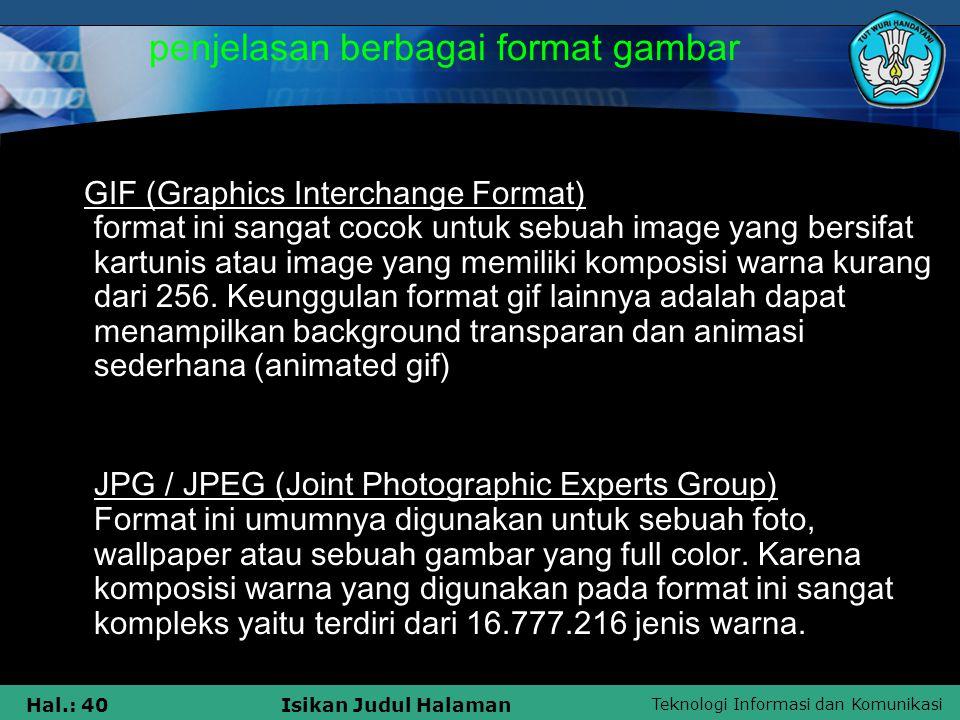 penjelasan berbagai format gambar