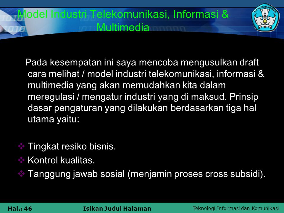 Model Industri Telekomunikasi, Informasi & Multimedia