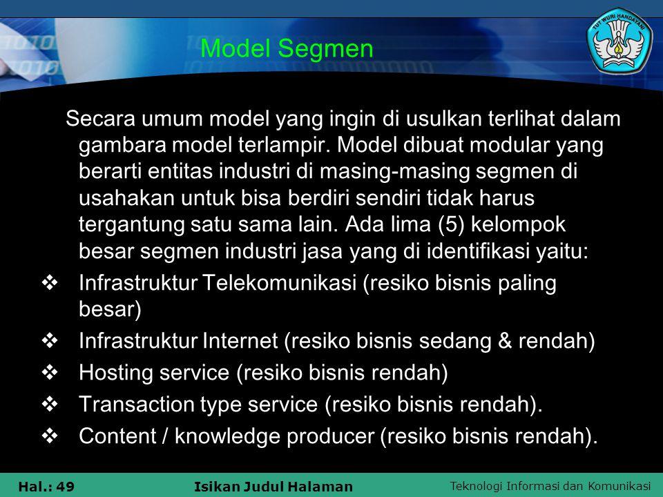 Model Segmen Infrastruktur Telekomunikasi (resiko bisnis paling besar)