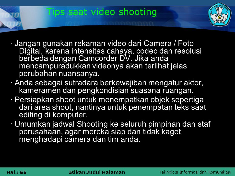 Tips saat video shooting