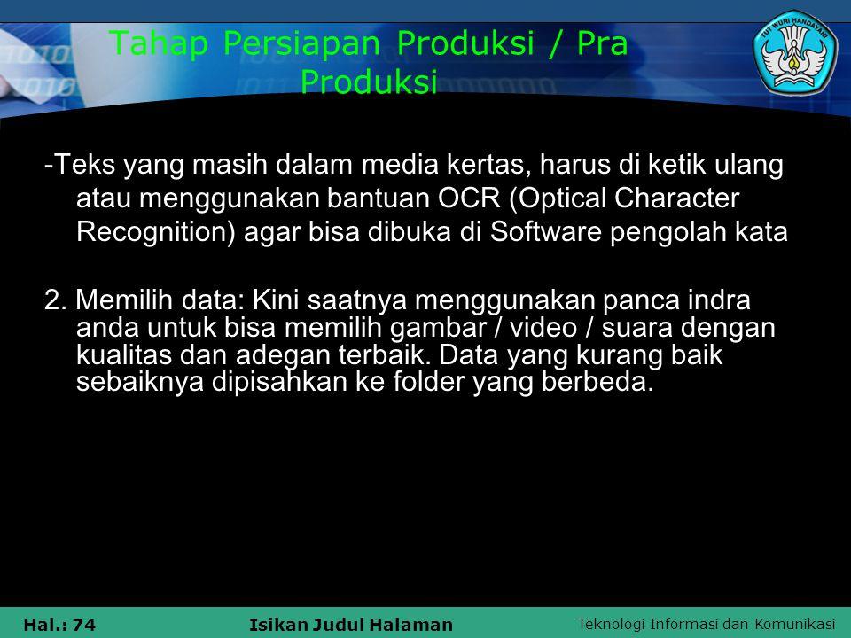 Tahap Persiapan Produksi / Pra Produksi