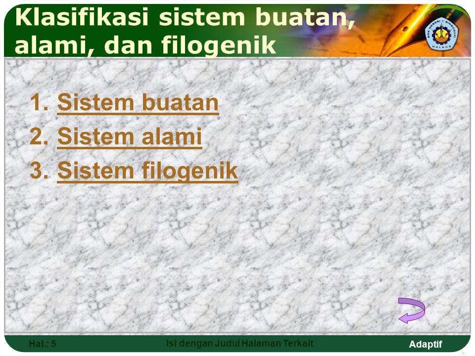 Klasifikasi sistem buatan, alami, dan filogenik