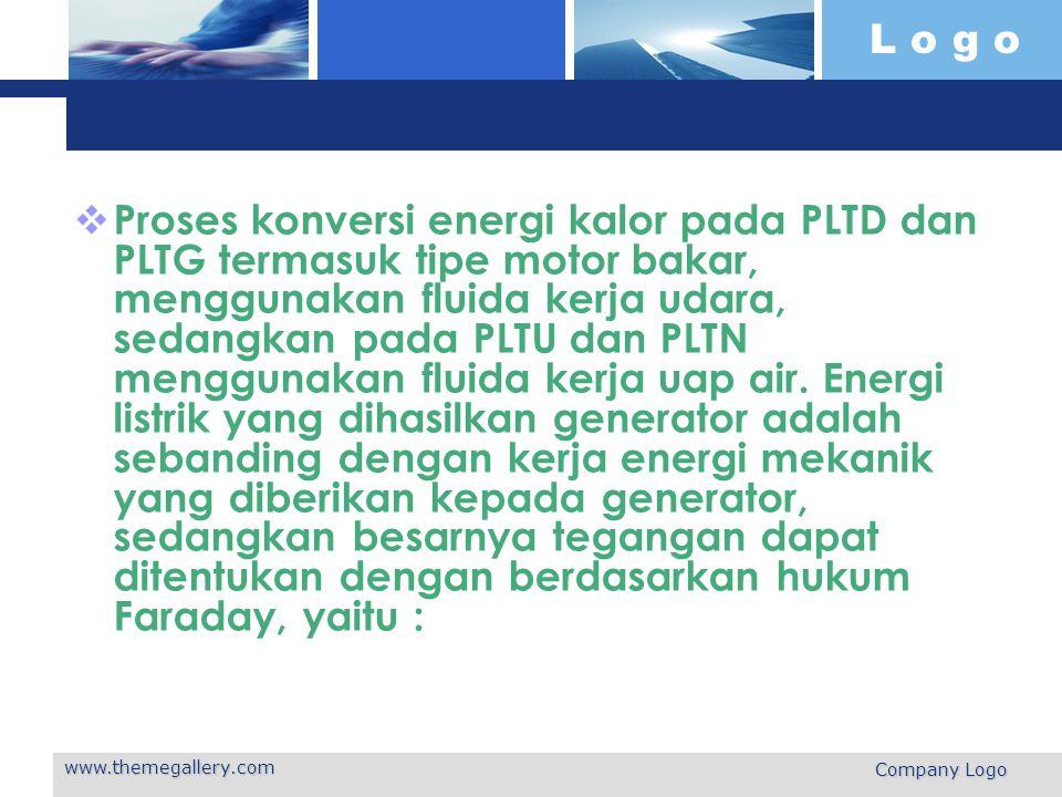 Proses konversi energi kalor pada PLTD dan PLTG termasuk tipe motor bakar, menggunakan fluida kerja udara, sedangkan pada PLTU dan PLTN menggunakan fluida kerja uap air. Energi listrik yang dihasilkan generator adalah sebanding dengan kerja energi mekanik yang diberikan kepada generator, sedangkan besarnya tegangan dapat ditentukan dengan berdasarkan hukum Faraday, yaitu :