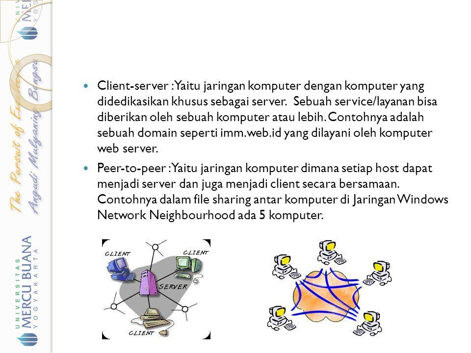Client-server : Yaitu jaringan komputer dengan komputer yang didedikasikan khusus sebagai server. Sebuah service/layanan bisa diberikan oleh sebuah komputer atau lebih. Contohnya adalah sebuah domain seperti imm.web.id yang dilayani oleh komputer web server.