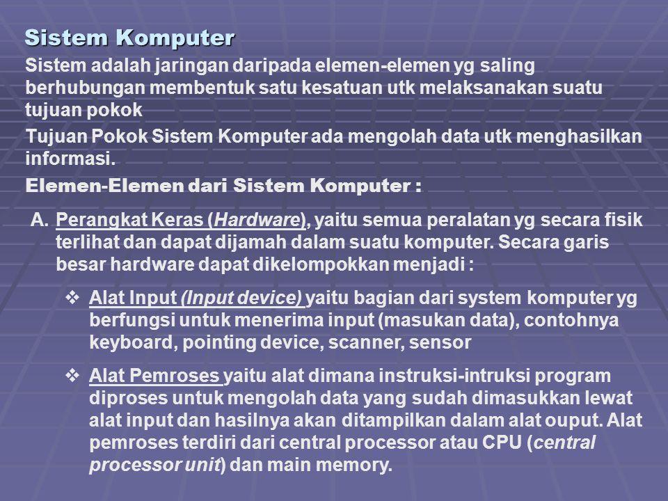 Sistem Komputer Sistem adalah jaringan daripada elemen-elemen yg saling berhubungan membentuk satu kesatuan utk melaksanakan suatu tujuan pokok.