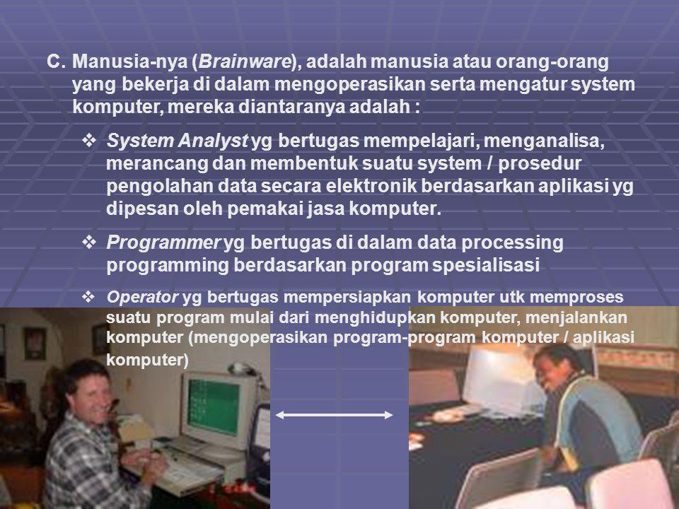 Manusia-nya (Brainware), adalah manusia atau orang-orang yang bekerja di dalam mengoperasikan serta mengatur system komputer, mereka diantaranya adalah :
