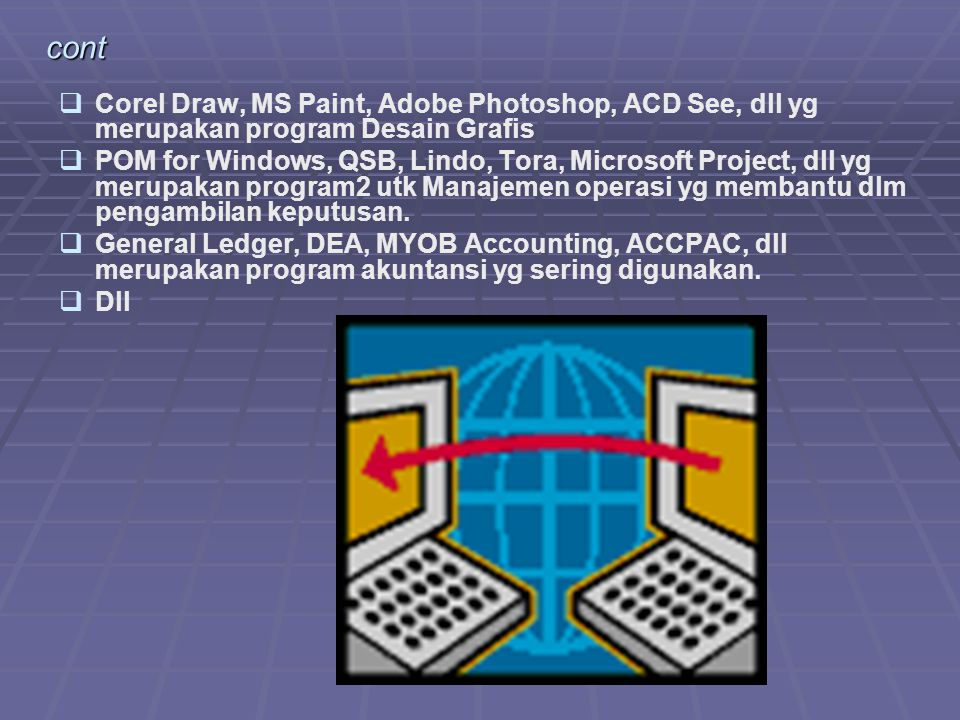 cont Corel Draw, MS Paint, Adobe Photoshop, ACD See, dll yg merupakan program Desain Grafis.