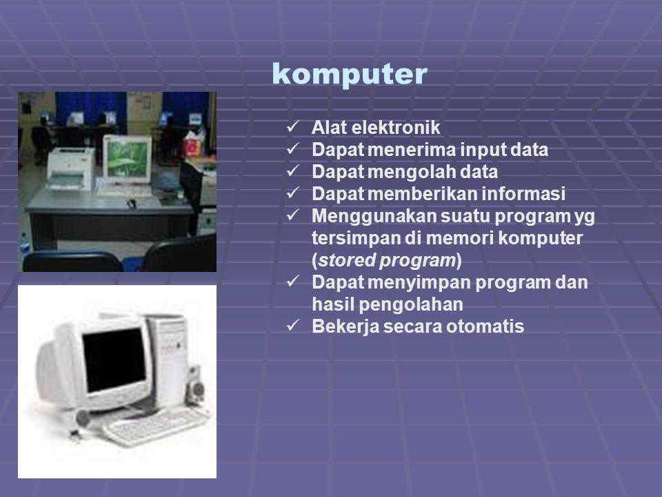komputer Alat elektronik Dapat menerima input data Dapat mengolah data