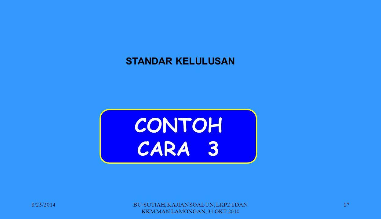 BU-SUTIAH, KAJIAN SOAL UN, LKP2-I DAN KKM MAN LAMONGAN, 31 OKT.2010