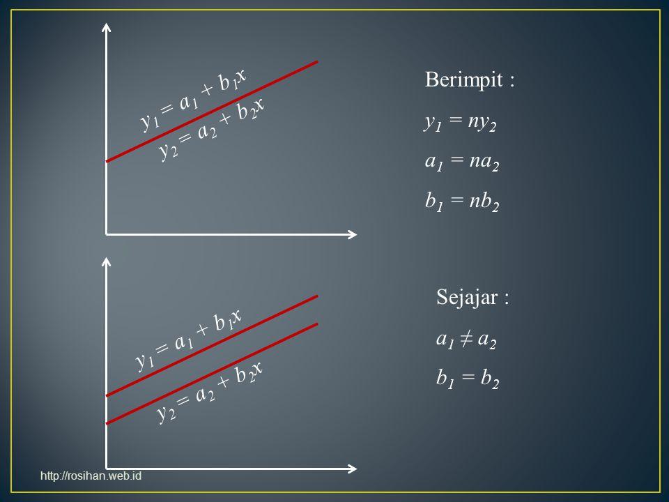 Berimpit : y1 = a1 + b1x y1 = ny2 y2 = a2 + b2x a1 = na2 b1 = nb2