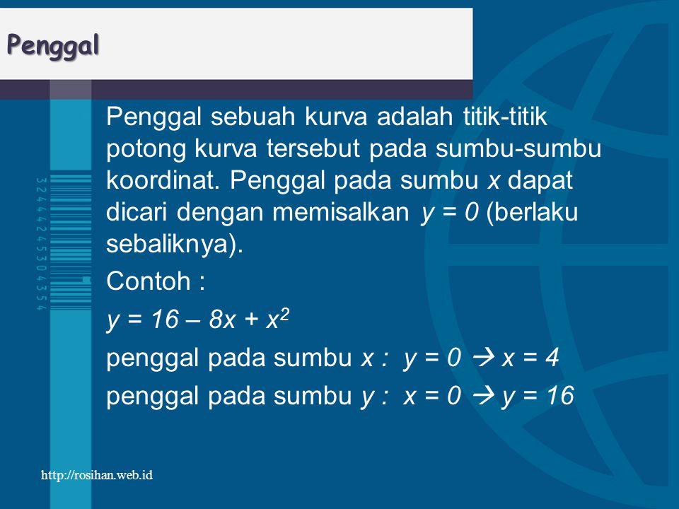 penggal pada sumbu x : y = 0  x = 4