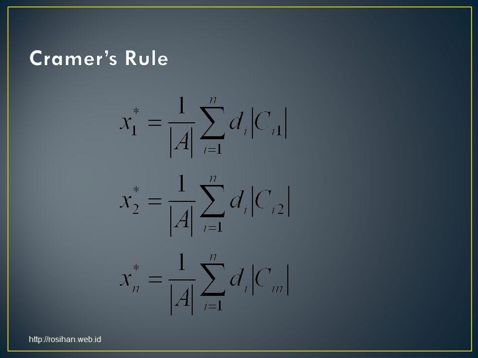 Cramer's Rule http://rosihan.web.id