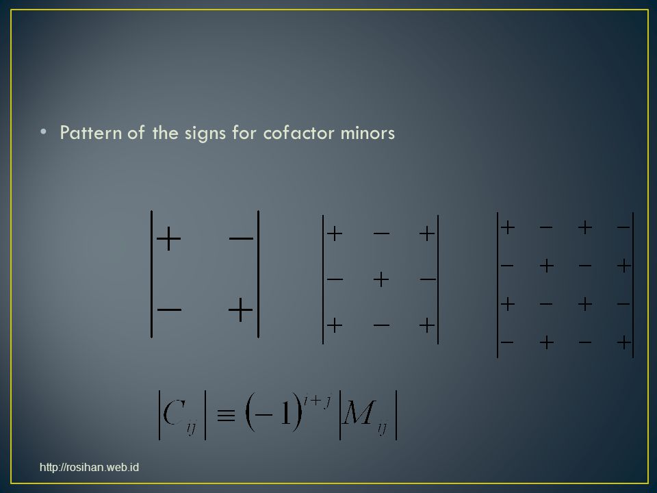 Pattern of the signs for cofactor minors