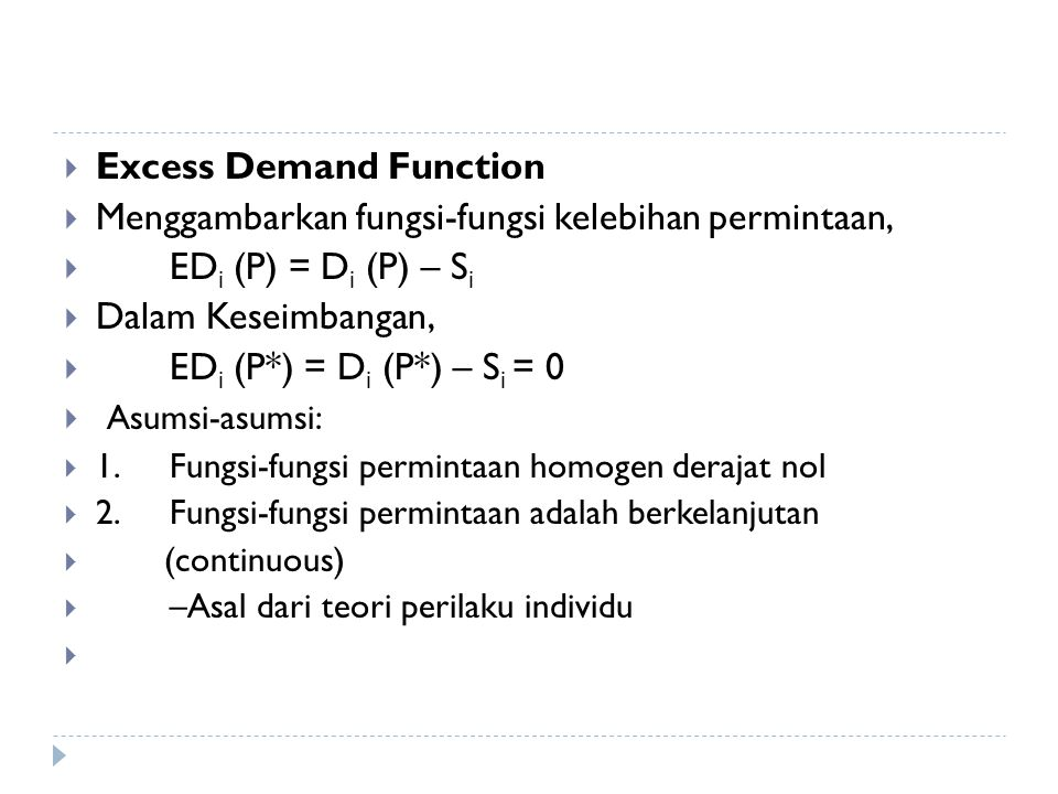 Excess Demand Function