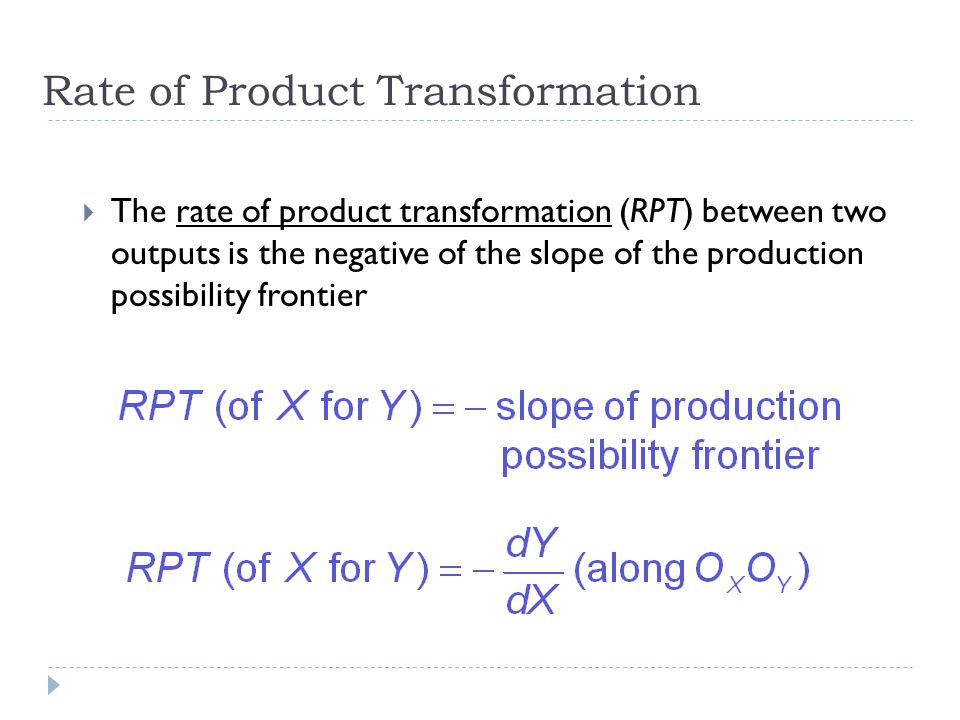Rate of Product Transformation
