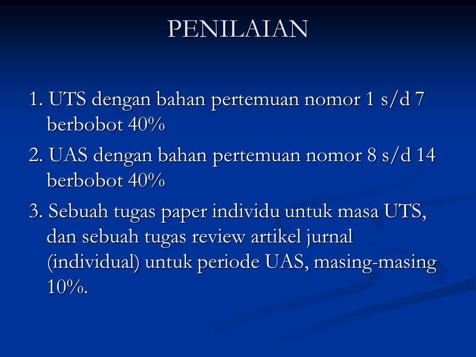 PENILAIAN 1. UTS dengan bahan pertemuan nomor 1 s/d 7 berbobot 40%