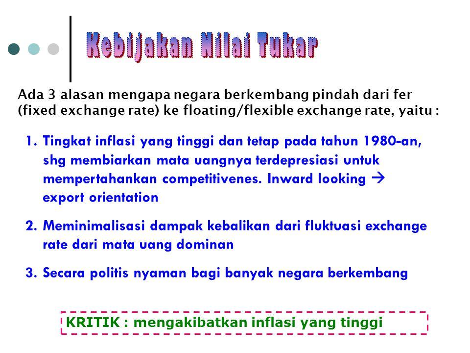 Kebijakan Nilai Tukar Ada 3 alasan mengapa negara berkembang pindah dari fer (fixed exchange rate) ke floating/flexible exchange rate, yaitu :