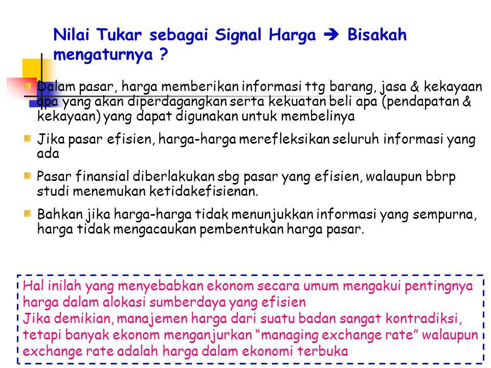 Nilai Tukar sebagai Signal Harga  Bisakah mengaturnya