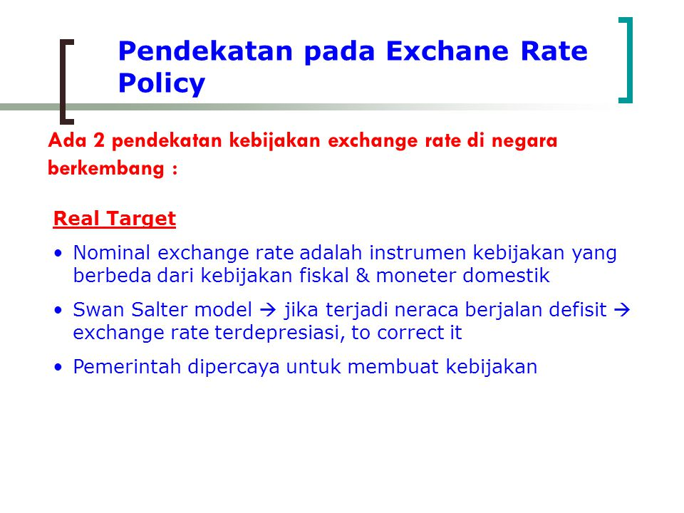 Pendekatan pada Exchane Rate Policy