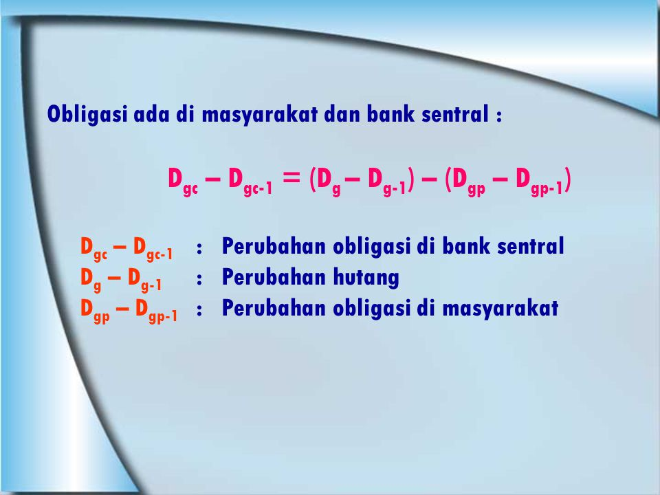 Dgc – Dgc-1 = (Dg – Dg-1) – (Dgp – Dgp-1)