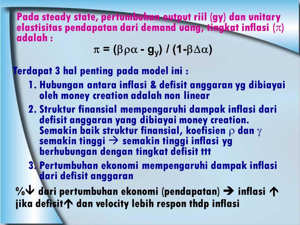 Pada steady state, pertumbuhan output riil (gy) dan unitary elastisitas pendapatan dari demand uang, tingkat inflasi () adalah :