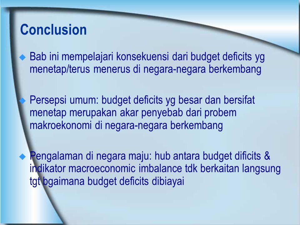 Conclusion Bab ini mempelajari konsekuensi dari budget deficits yg menetap/terus menerus di negara-negara berkembang.