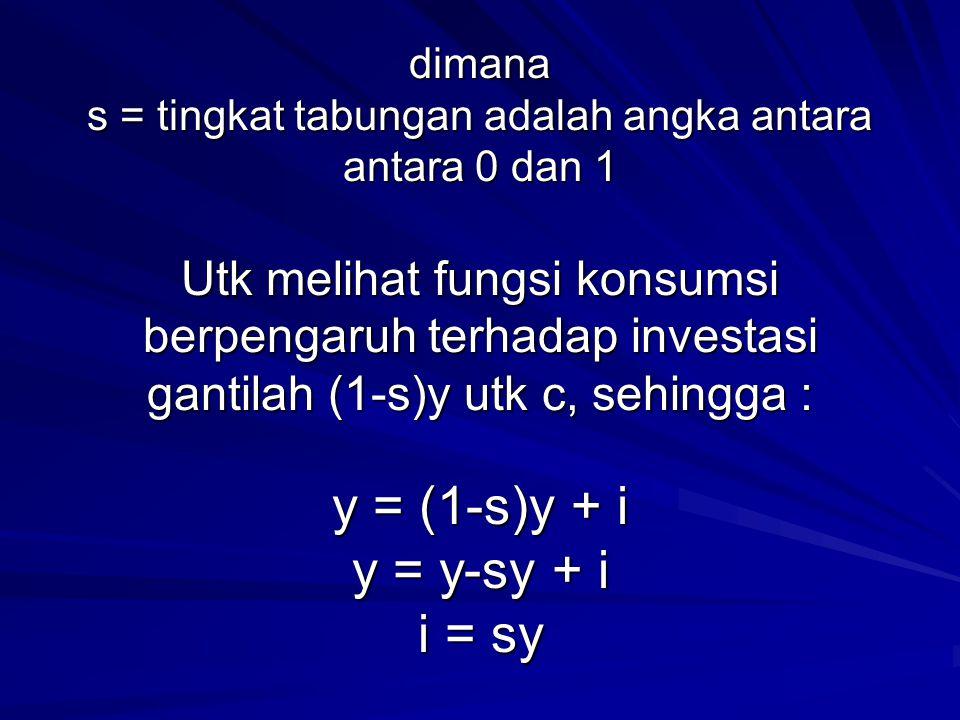 dimana s = tingkat tabungan adalah angka antara antara 0 dan 1 Utk melihat fungsi konsumsi berpengaruh terhadap investasi gantilah (1-s)y utk c, sehingga : y = (1-s)y + i y = y-sy + i i = sy
