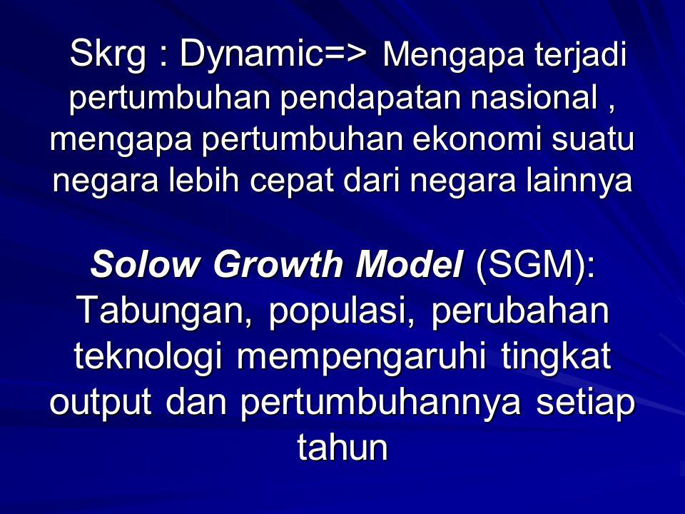 Skrg : Dynamic=> Mengapa terjadi pertumbuhan pendapatan nasional , mengapa pertumbuhan ekonomi suatu negara lebih cepat dari negara lainnya Solow Growth Model (SGM): Tabungan, populasi, perubahan teknologi mempengaruhi tingkat output dan pertumbuhannya setiap tahun