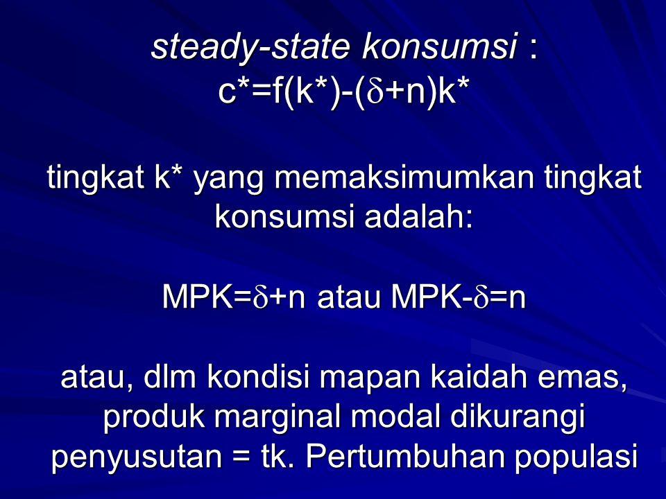 steady-state konsumsi : c. =f(k. )-(+n)k. tingkat k