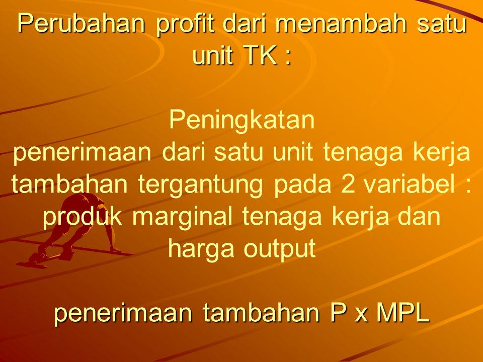 Dari MPL ke D TK Perubahan profit dari menambah satu unit TK : Peningkatan penerimaan dari satu unit tenaga kerja tambahan tergantung pada 2 variabel : produk marginal tenaga kerja dan harga output penerimaan tambahan P x MPL